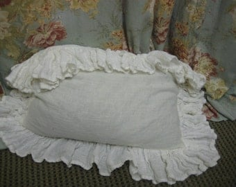READY TO SHIP----Single Long Ruffled Body Pillow Sham-Creamy White---Washed Linen Ruffled Sham--Body Pillow-Sham Only