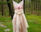 Extra Small Pink and cream lace babydoll cupcake dress Bridesmaid dress Prom dress Slip dress Romantic Lace 32 bust Size 2 Lily Whitepad