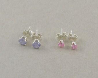 little girls heart earrings sterling silver by. Black Bedroom Furniture Sets. Home Design Ideas