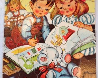 Vintage Child's Puzzle S.P.Co 7403 Children Playing Retro 1950's Hidden Shape Pieces