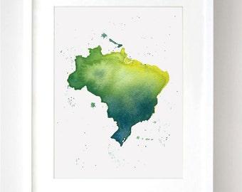 Brazil Map Watercolor Print