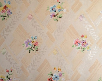 Vintage Wallpaper - Floral Bouquets Pink Lavender Blue Yellow with Silver Accents on Peachy Background 1940's - 1 Yard