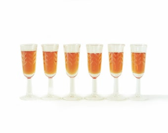 Vintage Stemmed Shot Glasses | Cut Glass | Mid Century | Clear | Set of Six | Herringbone | Pedestal Base