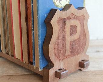 Vintage Wooden Bookends // Monogrammed Bookends // Vintage Office