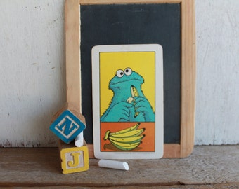 Vintage Muppets Flash Card // 1978 Muppets // FIVE // Cookie Monster with 5 Bananas