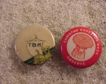 2 Vintage Pinback Buttons - Sunday School