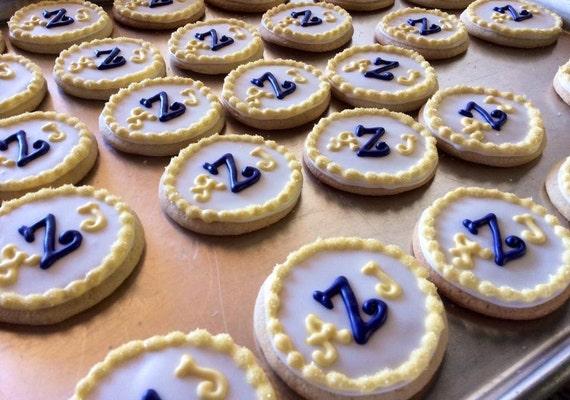 Items similar to Monog... Round Birthday Sugar Cookies