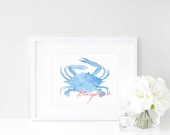 Maryland Blue Crab  |  Watercolor Print
