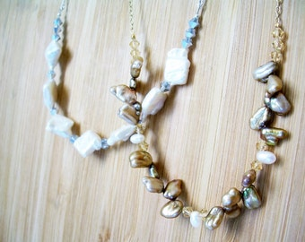 White Freshwater Pearl and Silver Crystal Necklace ~ Beachcomber, Bridesmaid, Beach Jewelry, Beach Wedding, Gift for Her