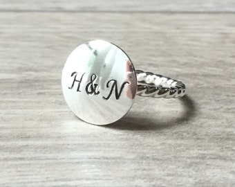 Initial couple ring Silver monogram ring silver love ring initial ring Sterling silver ring personalized ring couple ring