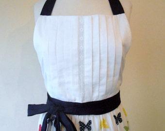 Papillon Full Apron - blue white butterfly apron - navy white apron - bib front apron - colorful apron