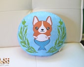 Corgi Mermaid Handmade Pillow Art Plush