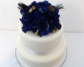Wedding Cake Topper - Snorkel Blue Rose, Dahlia, Peacock Feather, Gold Accents Silk Flower Cake Topper, Wedding Cake Flowers