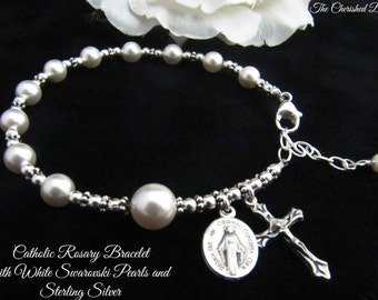 Catholic Rosary Bracelet with White Swarovski Pearl and Sterling Silver