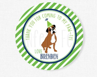 Puppy Party Favor Tags, Dog Birthday Favors, Boxer Party Tags, Boy Birthday Favor Tags, Blue and Green, Personalized