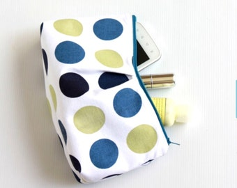 Blue Green Polka Dots Cosmetic Make Up Bag, Travel Make Up Pouch, Cosmetic Case, Zippered Purse, LAST ONE
