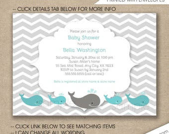 Whale Baby Shower Invitation, FREE SHIPPING, whale birthday party invitations, whales baby shower invites, neutral gender baby shower