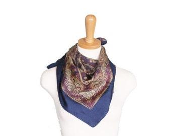 BLOWOUT 40% off sale Vintage 70s Navy Blue Paisley Scarf - Silk Brown Beige