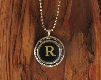 The Letter R Vintage Typewriter Key Pendant Necklace