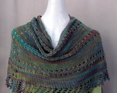 Ladies Wrap, Hand Knit in Sugar Cane Fiber,  in Shades of Teal and Tan