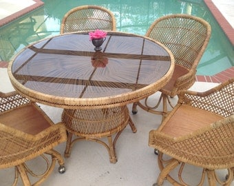 4 WOVEN RATTAN CHAIRS / Rattan Swivel Chairs on Casters / Island style Rattan Chairs / Set of 4 Chairs On Sale at Retro Daisy Girl