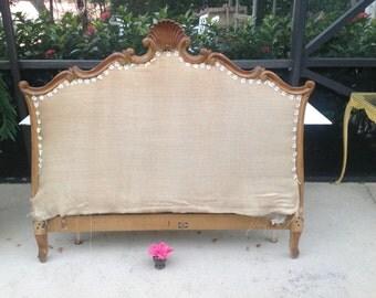 HAND CARVED HEADBOARD French Style Cassard Chateau Original Headboard / Shabby Chic Romantic Headboard / Full headboard  at Retro Daisy Girl