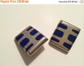 Modernist Silver Sterling Inlay Lapis Blue Clip Earrings Geometric Square