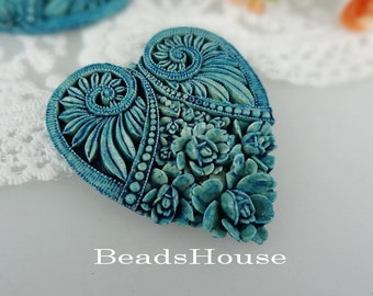 330-00-BL-CA  4pcs Tie-Dyed Heart Rose Cameo, Blue
