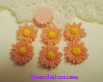 Sale: 625-00-CA  6pcs (10mm) Pretty Chrysanthemum Cabochon - Peach Pink