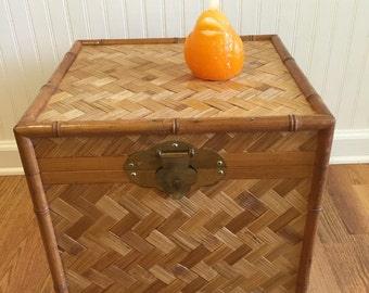 RATTAN CAMPAIGN CHEST, Campaign Trunk, Wicker Trunk, Rattan Trunk, with Brass Accents, Beach Decor, Boho, Asian, Tropical at Modern Logic