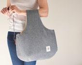 Large project bag, Gray Knitting bag, Knitting wristlet, Bag for crochet, knitting storage