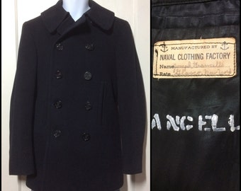 Vintage 1940's Military USN US Navy Wool Jacket World War II Pea Coat looks size Small 10 anchor buttons Francello
