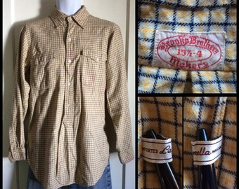 Vintage Brooks Brothers Lanella Wool Flannel Shirt size 15.5 with gussets Tattersall Plaid Tan Beige
