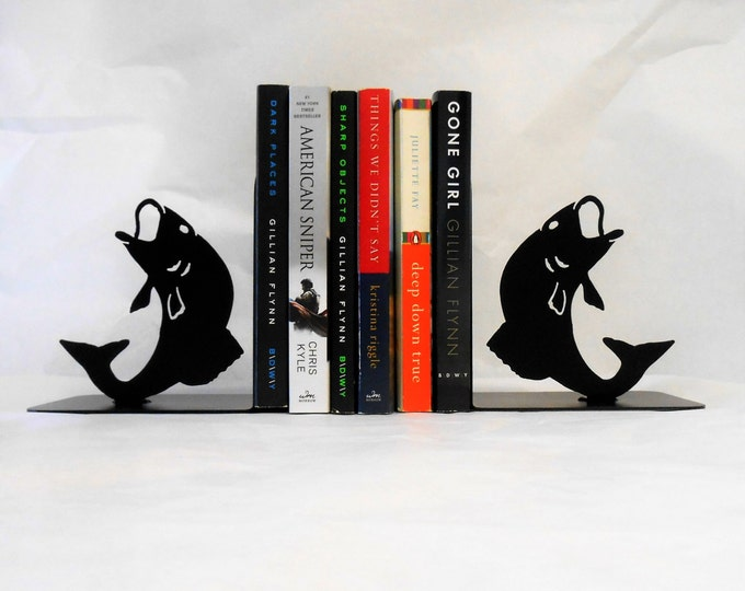 Fish Silhouette Metal Art Bookends