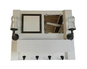 Mail organizer, entryway organizer, mirror, coat rack, whiteboard, chalkboard, corkboard, shelf, reclaimed, pallet wood