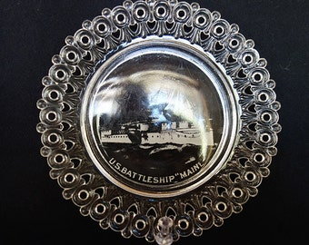 """Clear Pressed Glass Sweetheart Plate """"US Battleship Maine """""""