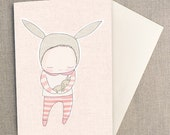 "Greeting Card - Baby  Bunny Cuddles - Peach - Gender Neutral,   C6 greeting card 11w x 15.5 h cm (4.4x6.1"")."