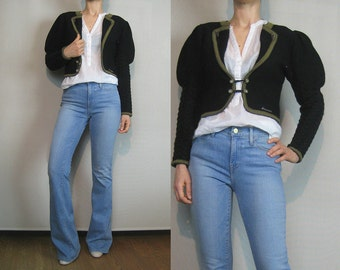 80s AUSTRIAN WOOL CABLE Knit Vintage Cropped Crop Leg of Mutton Puffed Sleeve Black Scheiber Austria German Tyrol Cardigan xs Small 1980s