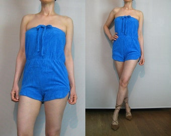Vintage 70s BLUEBERRY Blue Terry Cloth Romper 70s Blue Cotton Romper 70s Cotton Terry Cloth Romper 1970s Shorts Romper 70s Blue Jumpsuit