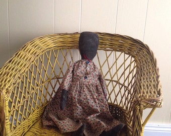Primitive Grungy Plain Jane Black Doll