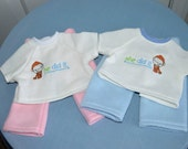 15 Inch Baby Doll Twins Matching Fleece Pink and Blue Pants and Machine Embroidered Tops by SEWSWEETDAISY