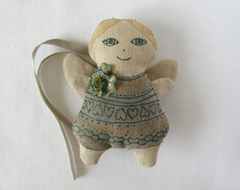 Linen angel - linen ornament decorated with silk flower from handpainted silk - grey, green gold