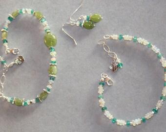 GORGEOUS Peridot, welo opal, apatite bracelet, opal and apatite bracelet and/or peridot with apatite and opal earrings