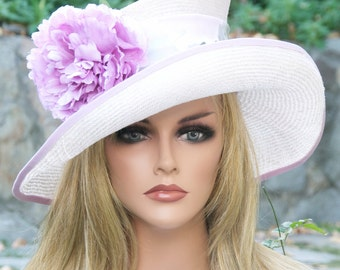 Wide Brim Wedding Hat, Ascot hat, formal hat, Church hat, Special Occasion Event hat, Garden Party Hat, Tea Party hat, dressy hat, lilac hat