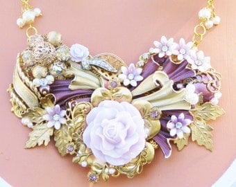 Jewelry Collage Necklace, Plum Purple and Gold, flowers, Matching Earrings