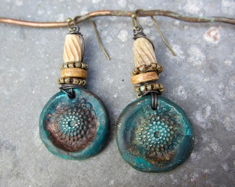 Be Here Now artisan earrings boho rustic grungy aquas rust brass  polymer clay beads