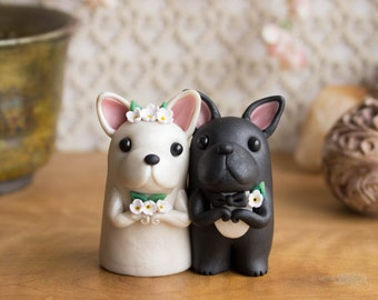 French Bulldog Wedding Cake Topper - Frenchie Wedding by Bonjour Poupette