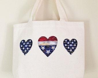 Ivory Canvas Mini Bag*Patriotic Hearts*Adorable