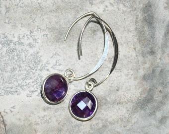 Amethyst Earrings, Gemstone Earrings, Purple Earrings, Sterling Silver Earrings, Modern Earrings, Amethyst Jewelry, Handmade Earrings