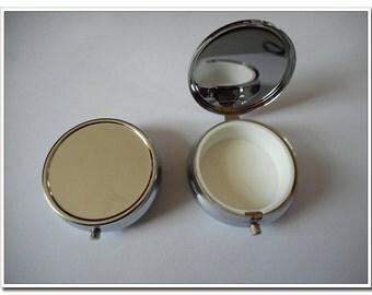 dia.5cm(2 inch) silver round pill box pill case For DIY